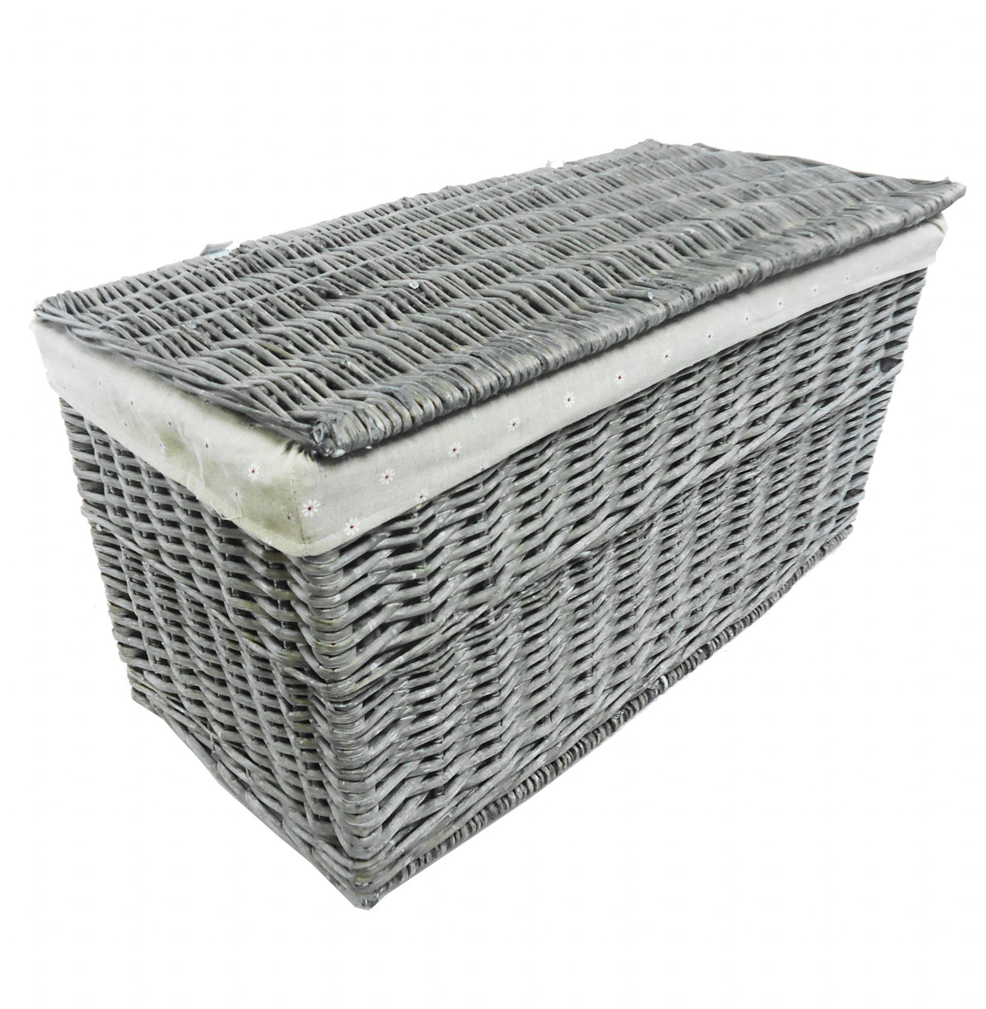 Shabby Chic White Strong Wicker Storage Chest Trunk Toy Blanket Box Wtrob